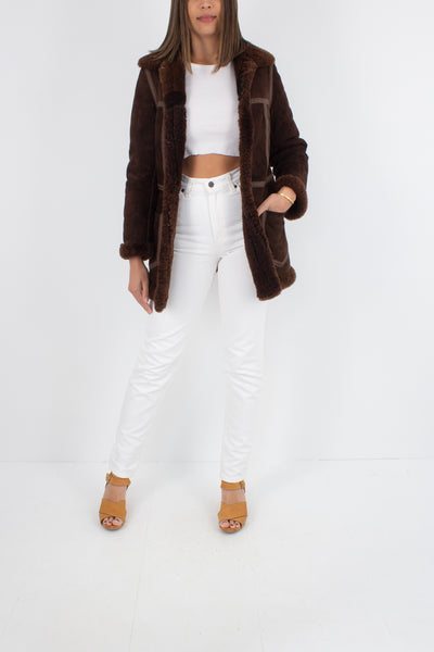 70s Chocolate Brown Sheepskin Leather Shearling Jacket - Size XXS / XS