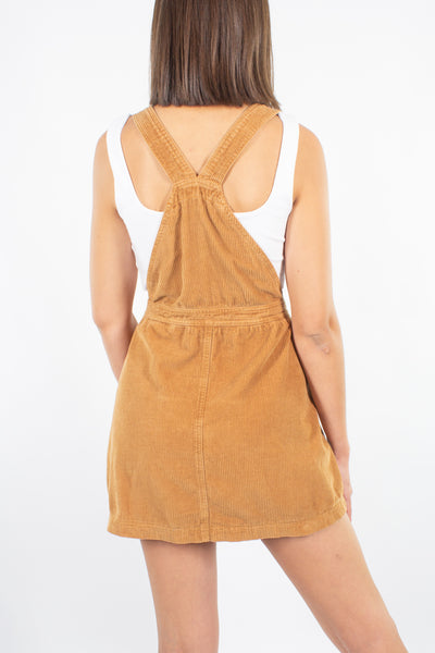 Cord Mini Dress in Caramel - Size M/L