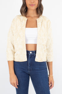 Cream Iridescent Sequinned Cardigan Jacket - Size XS/S/M