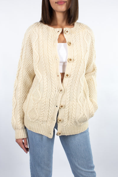 Cream Wool Fishermans Cardi - Free Size