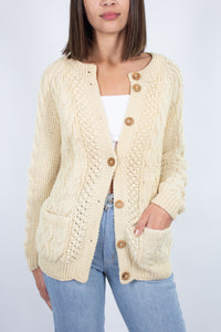 Cream Wool Fishermans Cardi with Wooden Buttons - Free Size