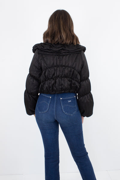 Black Puffer Jacket - Cropped - Size XS/S