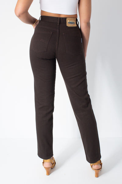 Dark Brown High Waist Jeans - Size S / 26""