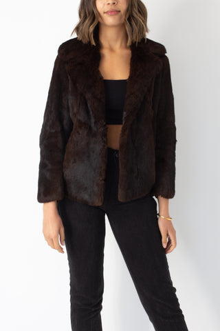 Dark Brown Short Fur Coat - Size XXS/XS/S