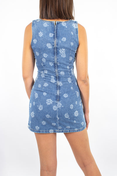 Denim Mini Dress with Daisy Print - Size XS