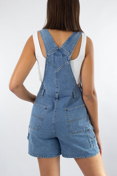 Denim Overalls in Mid Blue - 2 Sizes S & M