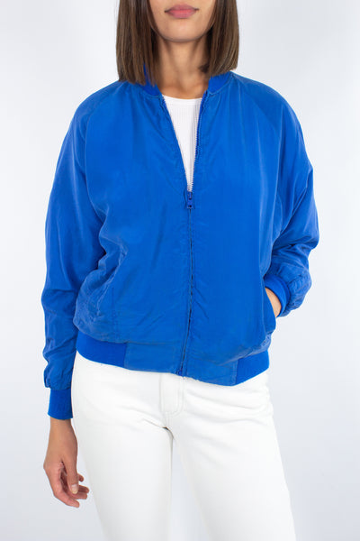 Electric Blue Silk Bomber Jacket - XS/S/M