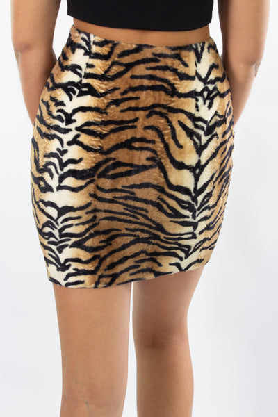 Tiger Print Mini Skirt - Faux Fur - Size XS/S