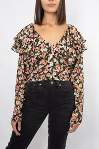 90s Floral Cropped Blouse - Size XS/S/M