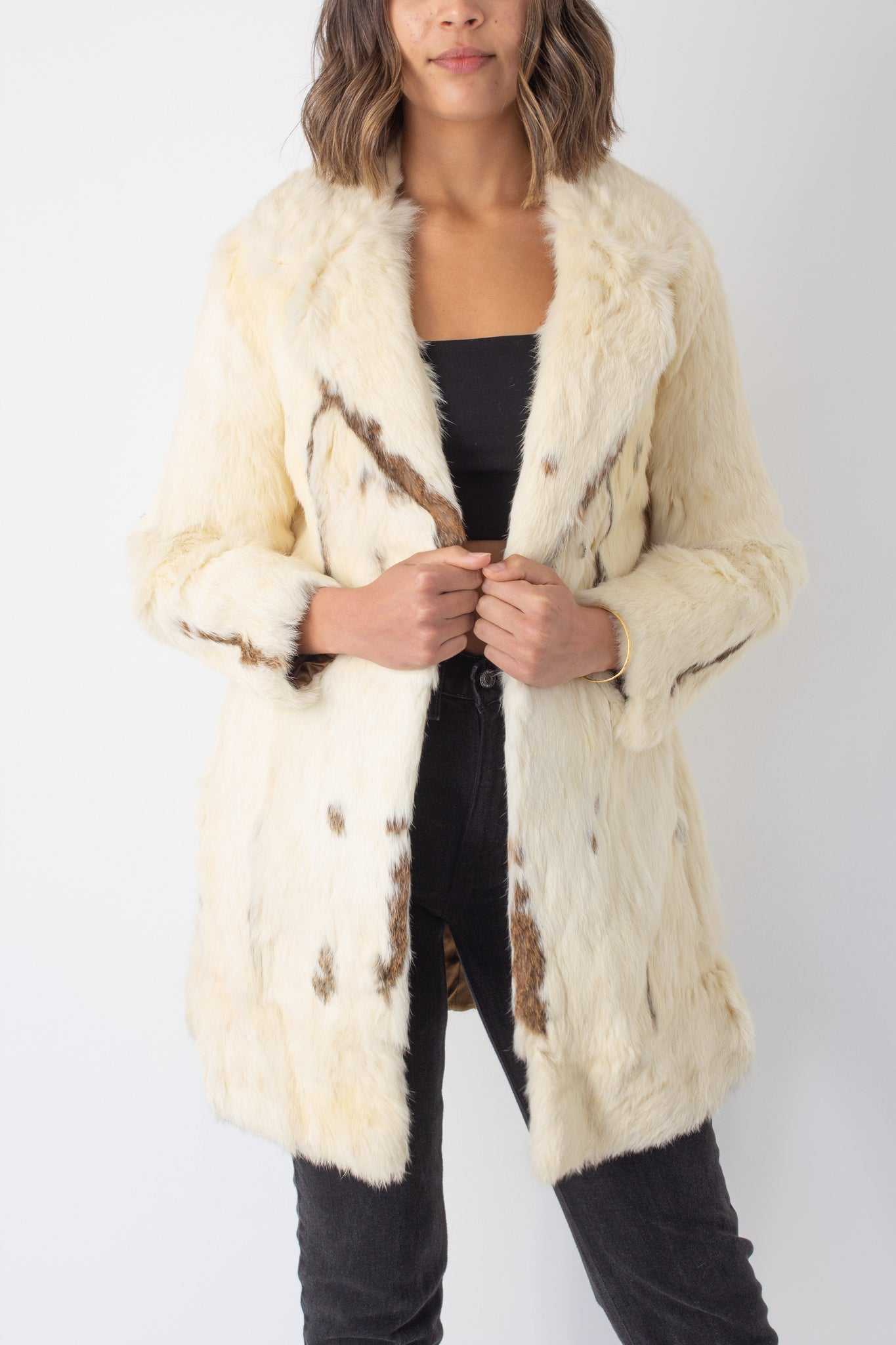 Golden Pearl Mid Length Fur Coat - Size XS/S