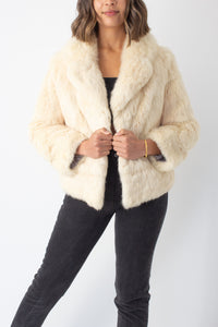 Golden Pearl Short Fur Coat - Free Size