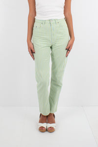 Green & Yellow Striped Jeans - Tapered Leg - Size S / 26""