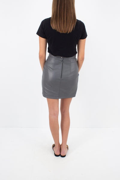 Grey Leather Mini Skirt - Size S / 26""