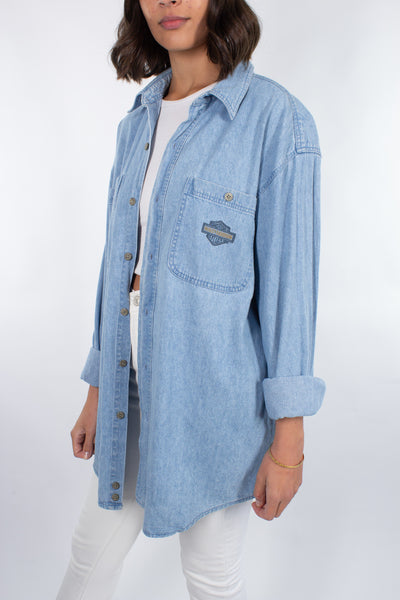 Harley Davidson Shirt Dress in Mid-Light Blue - Size L