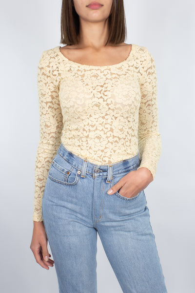 Ivory Lace Long Sleeve Top - Size XS/S/M