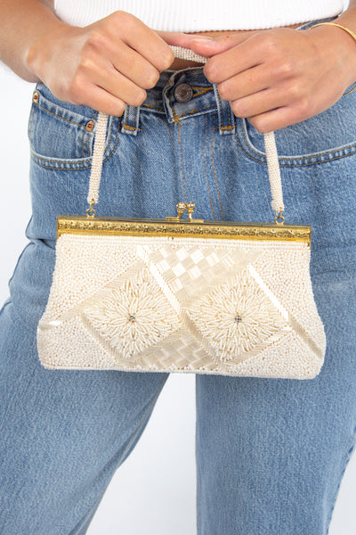Ivory Sequined Rectangle Bag