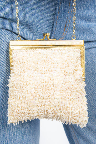 Ivory Sequined Square Bag