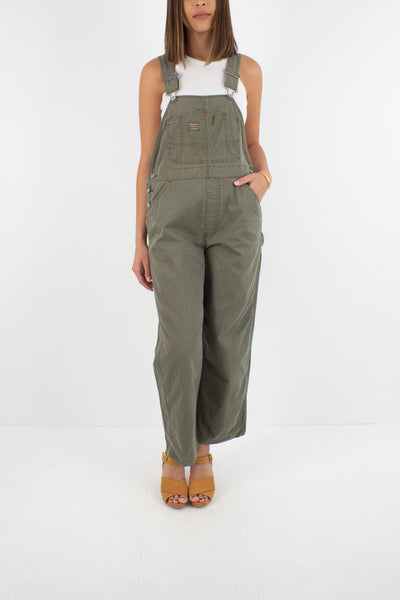 Khaki Long Denim Overalls - Size S