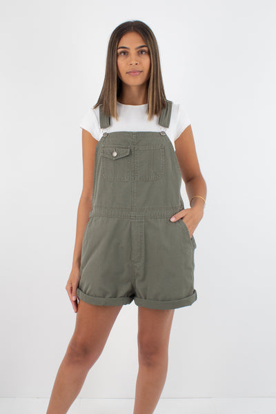 Khaki Short Denim Overalls - Size L/XL