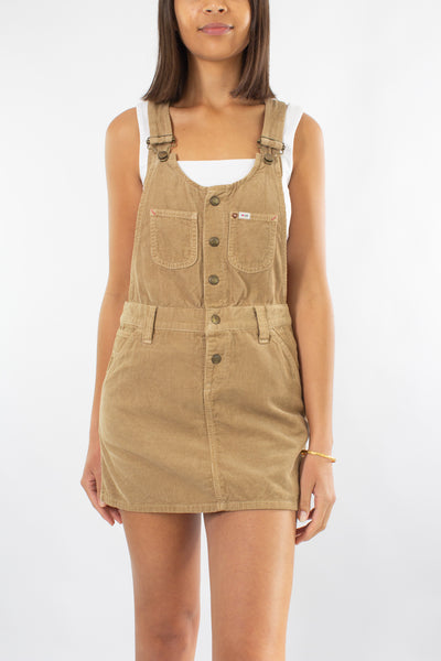 LEE Cord Mini Dress in Tan - Size S/M