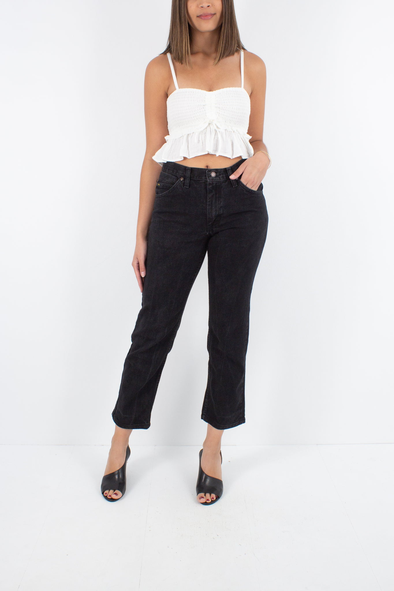 LEE Mid Rise Jeans in Black - Size S/M 29""