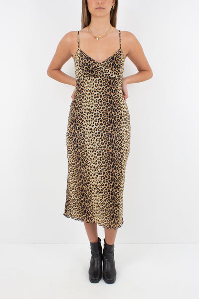 Leopard Print Stretch Midi Dress - Size XS/S