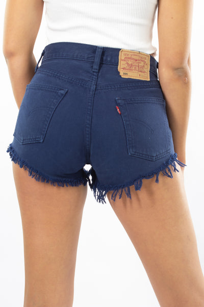 Levis Denim Shorts 501 - Navy Blue - Size S / 28""