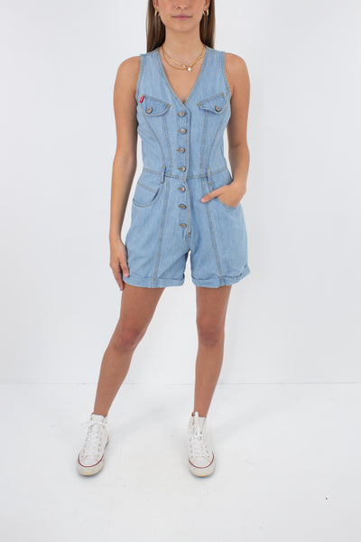 Light Blue Denim Playsuit - Size XS/S