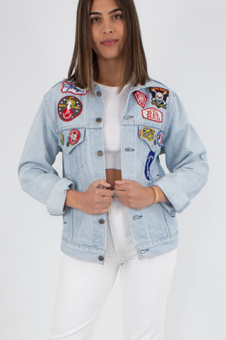 Levis Denim Jacket - Light Blue with Patches - Size XS/S/M