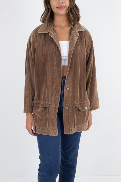 Light Brown Cord Button Up Jacket - Size XS/S/M
