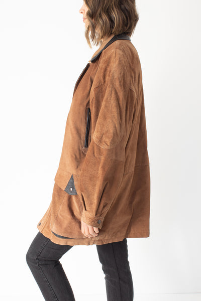 Light Brown Suede Leather Jacket - Free Size
