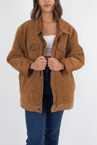 Oversized Light Brown Suede Leather Bomber Jacket - Size XL