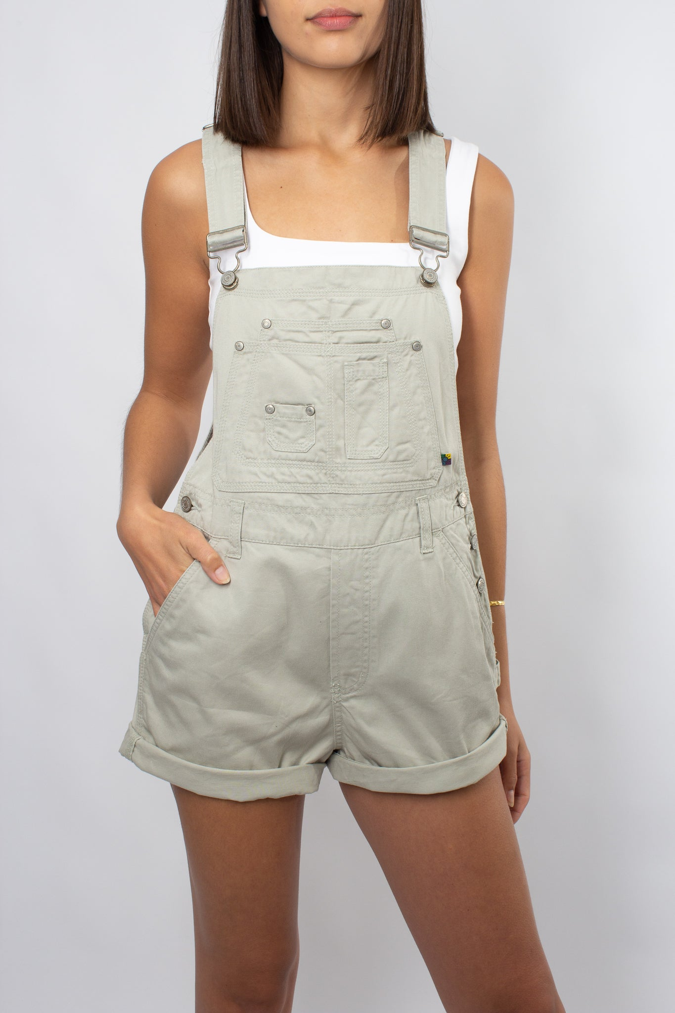 Light Olive Green Denim Overalls - Size M & L