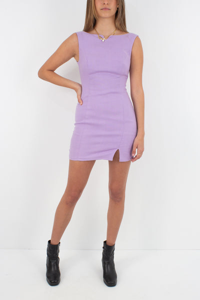 Lilac Linen Mini Dress - Size XXS/XS