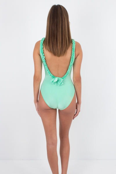 80s/90s Lime Green One Piece Swimsuit with Frilly Trim - Size XS & S