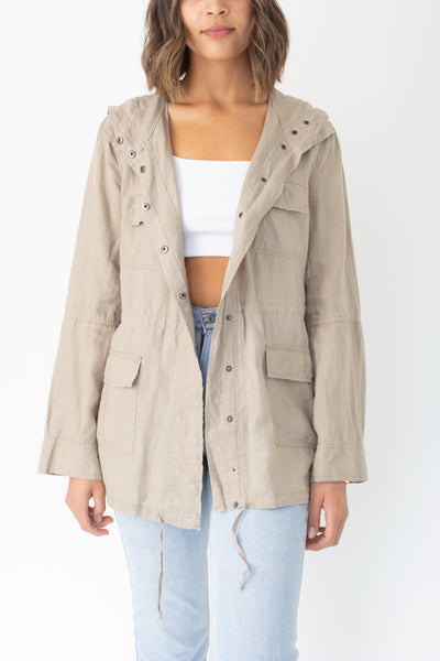 Beige Linen Hooded Jacket - Size XS/S/M