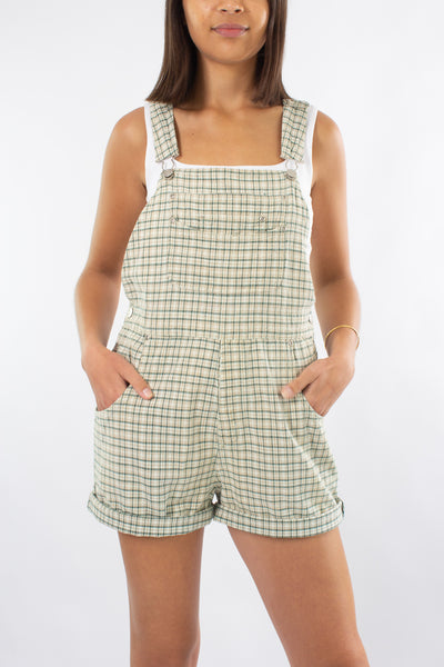 Cotton Overalls in Beige & Green Check - Size M