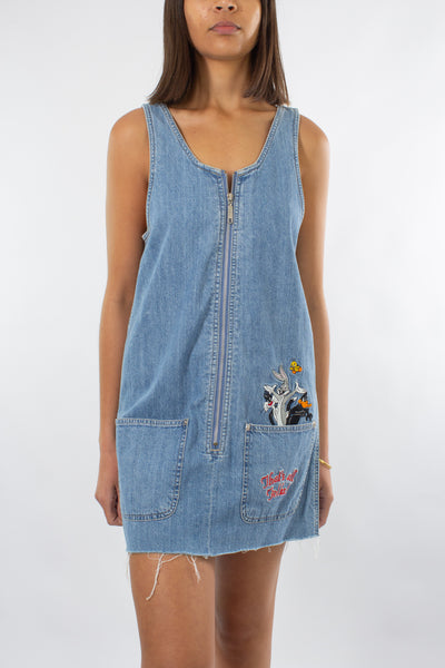 Looney Tunes Denim Mini Dress - Size XS/S/M