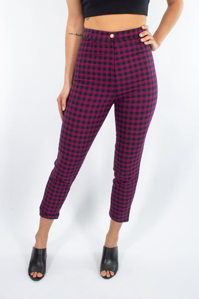 Magenta & Black Check High Waist Pant - Size XS / 25""