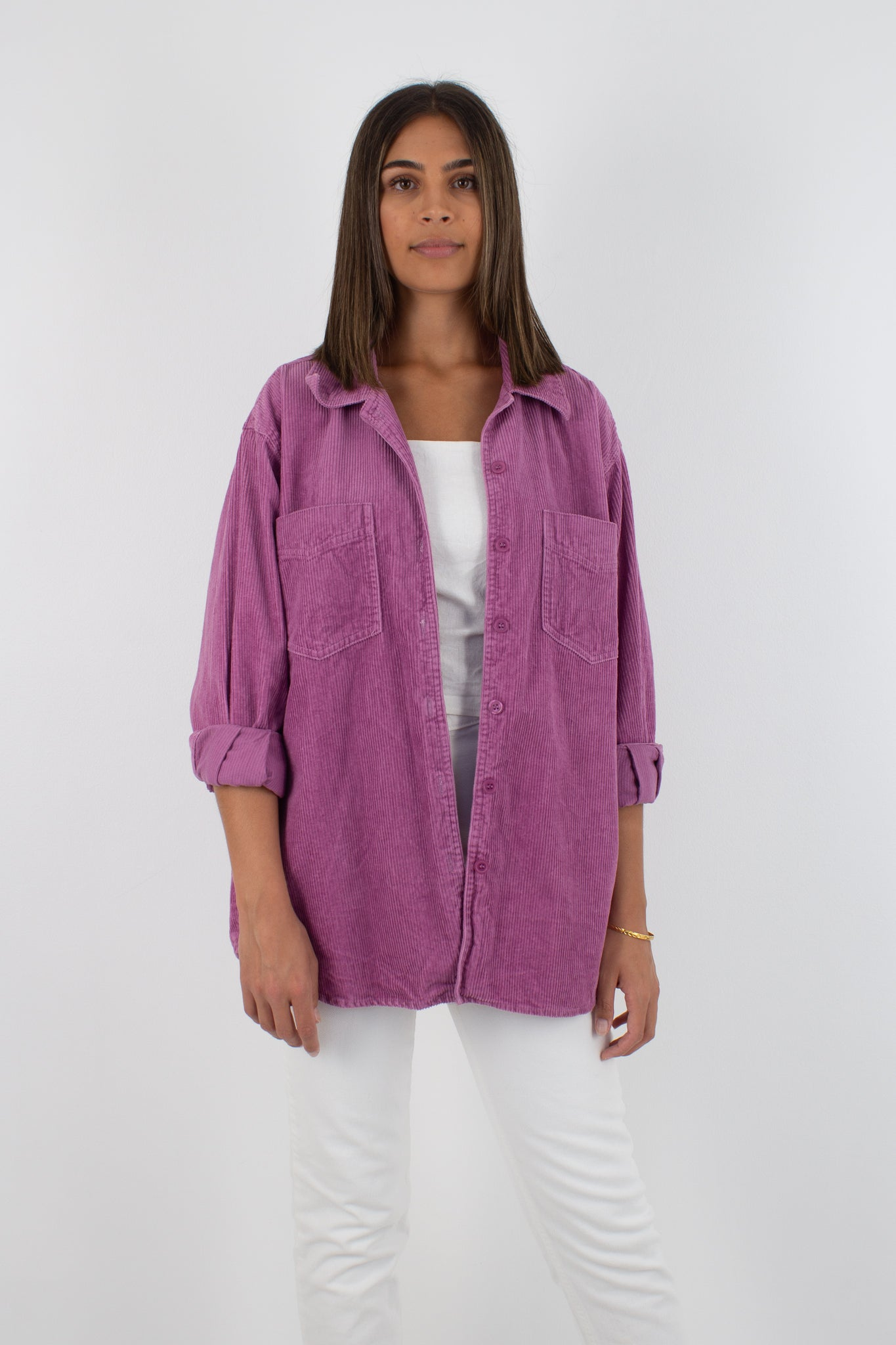 Magenta Cord Button Up Jacket - Size M
