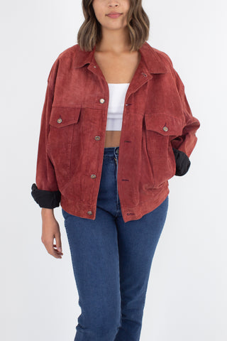 Red Suede Leather Bomber Jacket - Free Size
