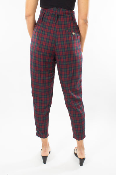 Maroon & Green Check Pant - Size S / 26""