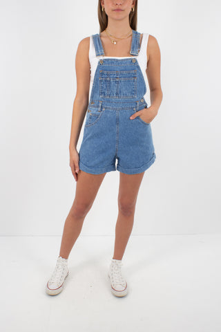 Denim Overalls in Mid Blue - Size XS