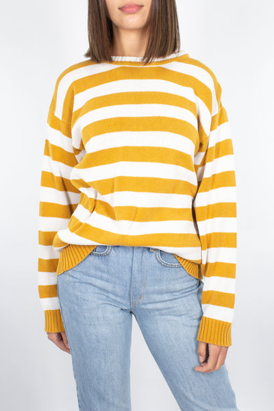Mustard & White Striped Cotton Jumper - Free Size