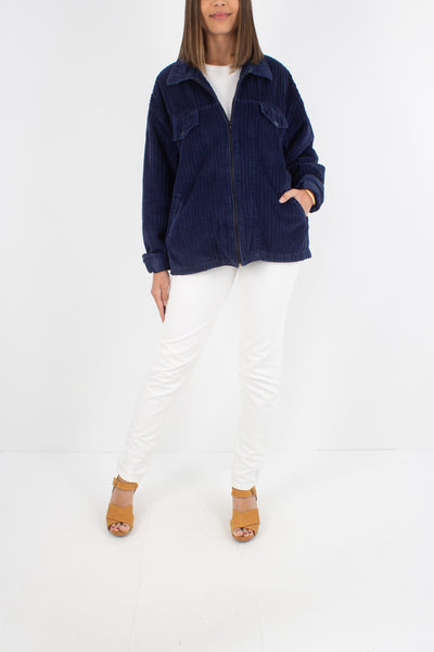 Navy Blue Cord Zip Up Jacket - Free Size