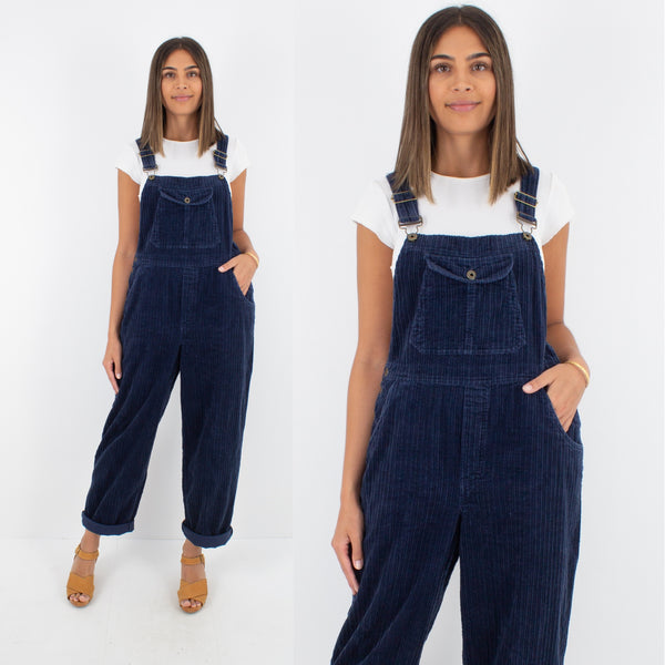 Navy Blue Long Cord Overalls - Size M/L