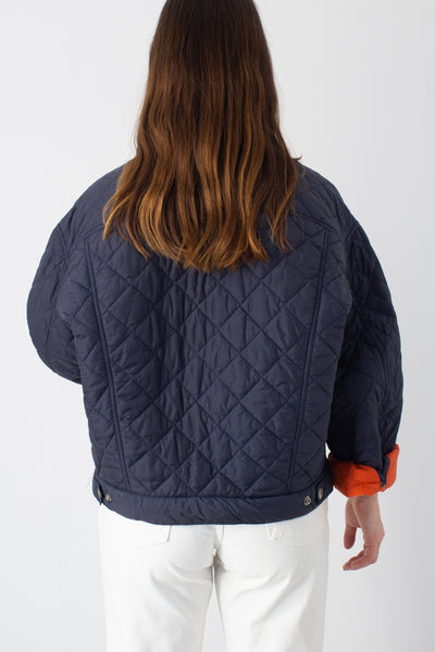 Navy Blue Quilted Cropped Jacket - Free Size