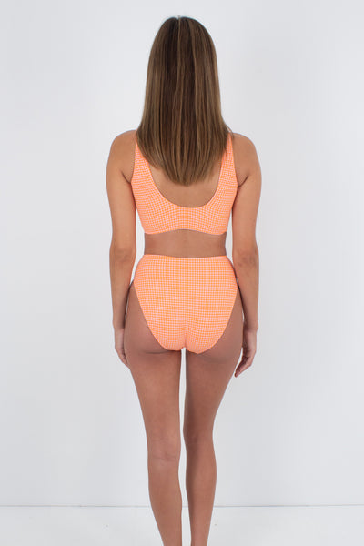 80s/90s Neon Orange & Peach Crop Top Bikini Swimsuit - Size XS & S
