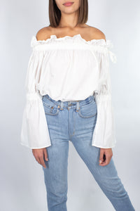 Off The Shoulder Top - White Cotton - Size