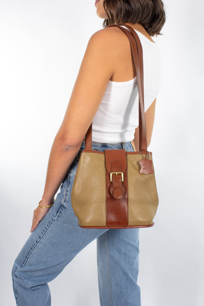 Olive Green & Brown Leather Bag